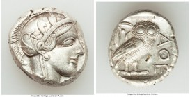ATTICA. Athens. Ca. 440-404 BC. AR tetradrachm (23mm, 17.21 gm, 7h). XF, test cut. Mid-mass coinage issue. Head of Athena right, wearing crested Attic...