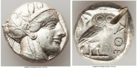 ATTICA. Athens. Ca. 440-404 BC. AR tetradrachm (25mm, 17.19 gm, 1h). XF, test cut. Mid-mass coinage issue. Head of Athena right, wearing crested Attic...