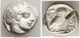 ATTICA. Athens. Ca. 440-404 BC. AR tetradrachm (24mm, 17.20 gm, 9h). Choice VF, test cut. Mid-mass coinage issue. Head of Athena right, wearing creste...