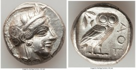 ATTICA. Athens. Ca. 440-404 BC. AR tetradrachm (24mm, 17.15 gm, 12h). XF. Mid-mass coinage issue. Head of Athena right, wearing crested Attic helmet o...