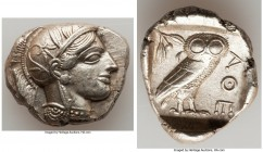 ATTICA. Athens. Ca. 440-404 BC. AR tetradrachm (28mm, 17.18 gm, 4h). XF. Mid-mass coinage issue. Head of Athena right, wearing crested Attic helmet or...