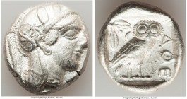 ATTICA. Athens. Ca. 440-404 BC. AR tetradrachm (25mm, 17.15 gm, 7h). XF. Mid-mass coinage issue. Head of Athena right, wearing crested Attic helmet or...