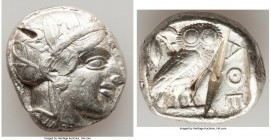 ATTICA. Athens. Ca. 440-404 BC. AR tetradrachm (23mm, 17.16 gm, 10h). Choice VF, test cuts, gouge. Mid-mass coinage issue. Head of Athena right, weari...