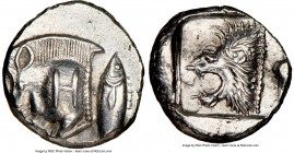 MYSIA. Cyzicus. Ca. 525-475 BC. AR obol(?) (10mm). NGC AU. Forepart of running boar left, H on shoulder; to right, tunny upward / Head of lion left wi...