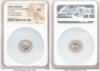 IONIA. Miletus. Ca. late 6th-5th centuries BC. AR 1/12 stater or obol (9mm). NGC AU. Milesian standard. Forepart of roaring lion left, head reverted /...