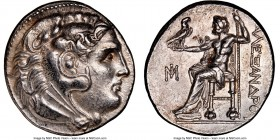 IONIA. Miletus. Ca. early 3rd century BC. AR tetradrachm (28mm, 17.14 gm, 12h). NGC Choice AU 5/5 - 3/5, brushed. Posthumous issue in the name and typ...
