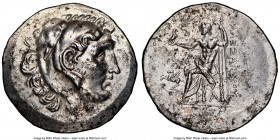CARIA. Alabanda. Ca. 188-156 BC. AR tetradrachm (33mm, 11h). NGC AU, brushed. Late posthumous issue in the name and types of Alexander III of Macedon,...
