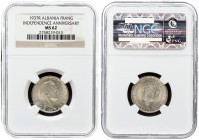 Albania 1 Frang Ar 1937 R 25th Anniversary of Independence. Zog I(1925-1939). Averse: Head right; date below. Reverse: Kings Arms. Silver. KM 18. NGC ...