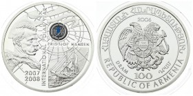 Armenia 100 Dram 2006 International Polar Year. Averse: National arms. Averse Legend: REPUBLIC OF ARMENIA. Reverse: Bust of Fridtjof Nansen right at l...