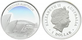 Australia 1 Dollar 2007 Elizabeth II (1952-). 'Discover Australia' series - Sydney (Opera House) proof with color applique. Silver. KM. 949