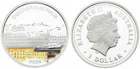 Australia 1 Dollar 2008 Elizabeth II (1952-). 'Discover Australia' series - Sydney (Hobart) proof with color applique. Silver. KM. 1021
