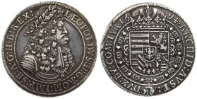 Austria 1 Thaler 1694 Hall. Leopold I(1657-1705). Averse: Old laureate bust right in inner circle. Averse Legend: LEOPOLDVS • D: G: ROM: IMP: SE: A: G...