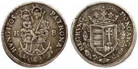 Austria Hungary 1 Silver Gulden 1705 K-B Kremnitz Franz II. Rakoczi (1703–1711). Av: MO: NOV: ARG: -REG: HVNG: Hungarian coat of arms with crown in a ...
