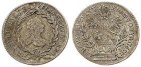 Austria 10 Kreuzer 1765 Maria Theresa(1740-1780). Averse: Crowned bust right within wreath of palm and laurel. Averse Legend: M • THERESIA • D: G • R ...
