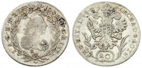 Austria 20 Kreuzer 1782 B Joseph II(1765-1790). Averse: Armored bust right; lion face on shoulder. Averse Legend: IOSEPH • II • D • G • R • ... Revers...