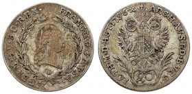 Austria 20 Kreuzer 1796 G Franz II (1792–1835). Averse: Head right within wreath. Averse Legend: FRANC • II • D • G • R • I • S • A • GERM • HV • BO •...