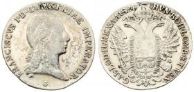 Austria 1/2 Thaler 1824 G Nagybánya. Franz I. (1804-1835). Av.: Laureate head right. Rv.: Crowned imperial double eagle facing with wings spread holdi...