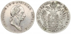 Austria 1 Thaler 1828 A Francis I (1815-1835). Averse: Head with short hair right. Reverse: Crowned imperial double eagle. Silver. KM 2163