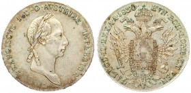 Austria 1 Thaler 1830 A Francis I (1815-1835). Averse: Head with short hair right. Reverse: Crowned imperial double eagle. Silver. KM 2163