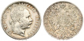 Austria 1 Florin 1879 Vienna. Franz Joseph I (1848-1916). Averse: Laureate head right. Reverse: Crowned imperial double eagle. Silver. KM 2222