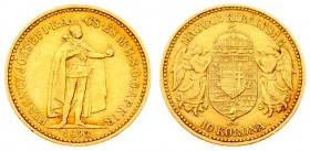 Austria Hungary 10 Korona 1893 KB Kremnitz. Franz Joseph I(1848-1916). Averse: Emperor standing. Reverse: Crowned shield with angel supporters. Gold. ...
