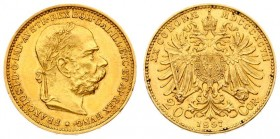 Austria 20 Corona 1897 - MDCCCXCVII Franz Joseph I(1848-1916). Averse: Laureate; bearded head right. Reverse: Crowned imperial double eagle. Gold. KM ...