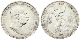 Austria 5 Corona 1908 60th Anniversary of Reign. Franz Joseph I(1848-1916). Averse: Head right. Reverse: Running figure of Fame. Silver. Scratches. KM...