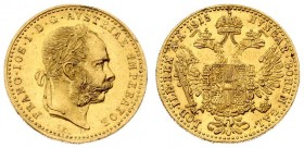 Austria 1 Ducat 1915 Vienna Franz Joseph I(1848-1916). Averse: Laureate head right heavy whiskers. Reverse: Crowned imperial double eagle. Gold. Restr...