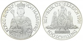 Austria 100 Schilling 1991. Averse: Rudolph I seated on throne flanked by figures kneeling value at bottom. Reverse: Half-length figure of Rudolph I f...