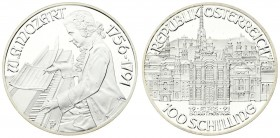 Austria 100 Schilling 1991. Averse: Mozart's Vienna Years- Burgtheater value below. Reverse: Mozart seated at piano left two dates at right. Edge Desc...