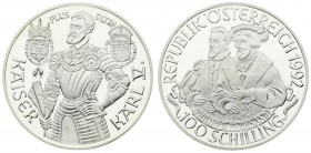 Austria 100 Schilling 1992. Averse: Two half-length figures 3/4 left above inscription value at bottom. Reverse: 3/4 length figure of Karl V in armor ...