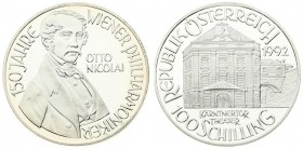 Austria 100 Schilling 1992. Averse: Theater building value below. Reverse: Bust of Otto Nicolai 3/4 right. Edge Description: Reeded. Silver. KM 3005. ...