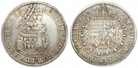 Austria 1 Thaler 1699 Hall. Leopold I (1657-1705). Averse: Old laureate bust right in inner circle. Averse Legend: LEOPOLDVS D: G: ROM: IMP: SE: A: G:...