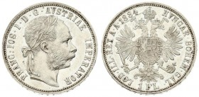 Austria 1 Florin 1884 Vienna Franz Joseph I(1848-1916). Averse: Laureate head right. Reverse: Crowned imperial double eagle. Silver. Scratches. KM 222...