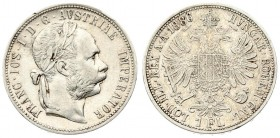 Austria 1 Florin 1886 Vienna Franz Joseph I(1848-1916). Averse: Laureate head right. Reverse: Crowned imperial double eagle. Silver. Scratches. KM 222...
