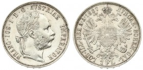 Austria 1 Florin 1887 Vienna Franz Joseph I(1848-1916). Averse: Laureate head right. Reverse: Crowned imperial double eagle. Silver. Scratches. KM 222...