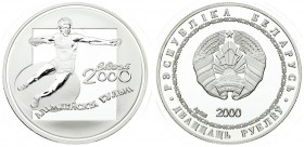Belarus 20 Roubles 2000 - 2002 Winter Olympics. Averse: National arms; date below; within circle. Reverse: Discus thrower. Edge Description: Reeded. S...