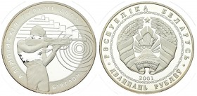 Belarus 20 Roubles 2001 - 2002 Winter Olympics. Averse: National arms. Reverse: Marksman aiming at bullseye. Edge Description: Reeded. Silver. KM 49. ...