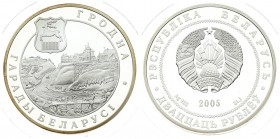 Belarus 20 Roubles 2005 Grodno. Averse: National arms. Reverse: Shield and fortress. Silver. KM 352. With capsule