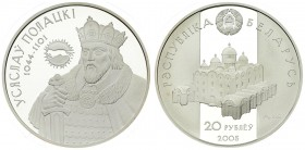 Belarus 20 Roubles 2005. Averse: Large church. Reverse: Usyaslau of Polatsk. Silver. KM 100. With capsule