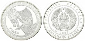 Belarus 20 Roubles 2005 2006 Olympic Games. Averse: National arms. Reverse: Two hockey players. Silver. KM 133. With capsule