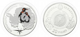 Belarus 20 Roubles 2007 International Polar Year. Averse: IPY logo. Reverse: Antarctic map behind two penguins. Silver. KM164. With capsule