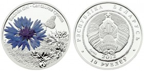 Belarus 10 Roubles 2012. Averse: National arms. Reverse: Centaurea Cyanus flower. Silver. KM 424. With capsule