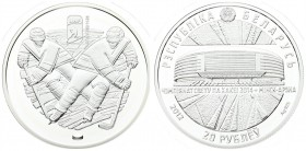 Belarus 20 Roubles 2012 2014 World Ice Hockey Championship. Averse: National arms above Minsk Arena. Reverse: Hockey players. Silver. KM 480. With cap...