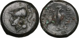 Greek Italy. Samnium, Southern Latium and Northern Campania, Teanum Sidicinum. AE 20 mm, 265-240 BC. D/ Head of Athena left, helmeted. R/ Cock standin...