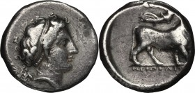 Greek Italy. Central and Southern Campania, Neapolis. AR Didrachm, 395-385 BC. D/ Head of nymph right. R/ Man-headed bull right; above, Nike flying ri...