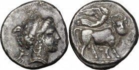 Greek Italy. Central and Southern Campania, Neapolis. AR Stater, 300-275 BC. D/ Head of nymph right; behind, Artemis holding torch. R/ Man-headed bull...