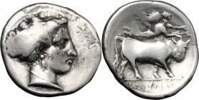 Greek Italy. Central and Southern Campania, Neapolis. AR Stater, 300-260 BC. D/ Head of nymph right. R/ Man-headed bull right; above, Nike flying righ...
