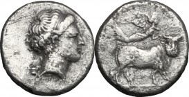 Greek Italy. Central and Southern Campania, Neapolis. AR Didrachm, 300-275 BC. D/ Head of nymph right; behind, kantharos. R/ Man-headed bull right; ab...