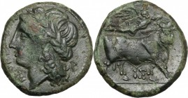 Greek Italy. Central and Southern Campania, Neapolis. AE 19 mm, 275-250 BC. D/ Head of Apollo left, laureate. R/ Man-headed bull right; above, Nike fl...